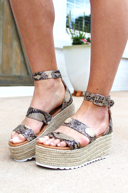 The Kennedy Snakeskin Ankle Wrap Espadrilles, Summer Sandals, Snake Print Shoes, Wedges. Platforms - Shop Cute Shoes Online At Kendry Collection Boutique