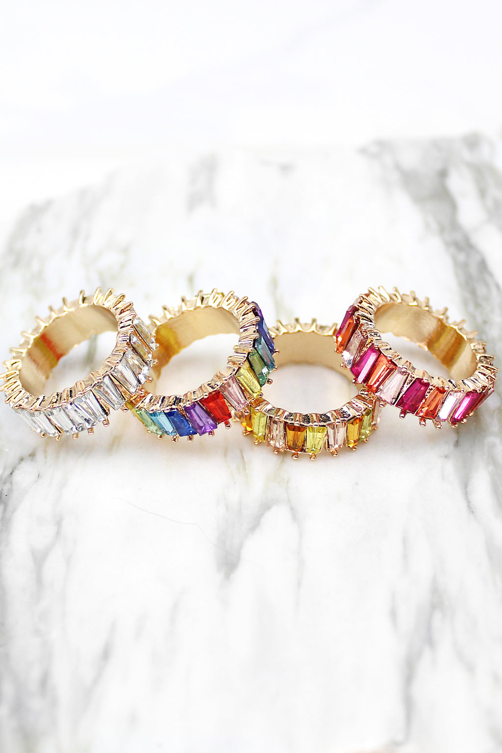 Thick Freeform Rainbow Baguette Ring - Clear Stones, Rainbow Ring, Baguette Ring, Multicolor Baguette Ring, Statement Ring, Gold Baguette Ring, Rainbow Baguette Ring, Eternity Baguette Ring - Kendry Collection Boutique
