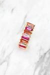 Thick Freeform Rainbow Baguette Ring - Pink Stones, Rainbow Ring, Baguette Ring, Multicolor Baguette Ring, Statement Ring, Gold Baguette Ring, Rainbow Baguette Ring, Eternity Baguette Ring - Kendry Collection Boutique