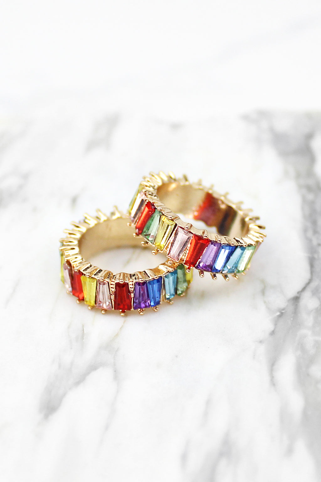 Thick Freeform Rainbow Baguette Ring - Multicolor, Rainbow Ring, Baguette Ring, Multicolor Baguette Ring, Statement Ring, Gold Baguette Ring, Rainbow Baguette Ring, Eternity Baguette Ring - Kendry Collection Boutique