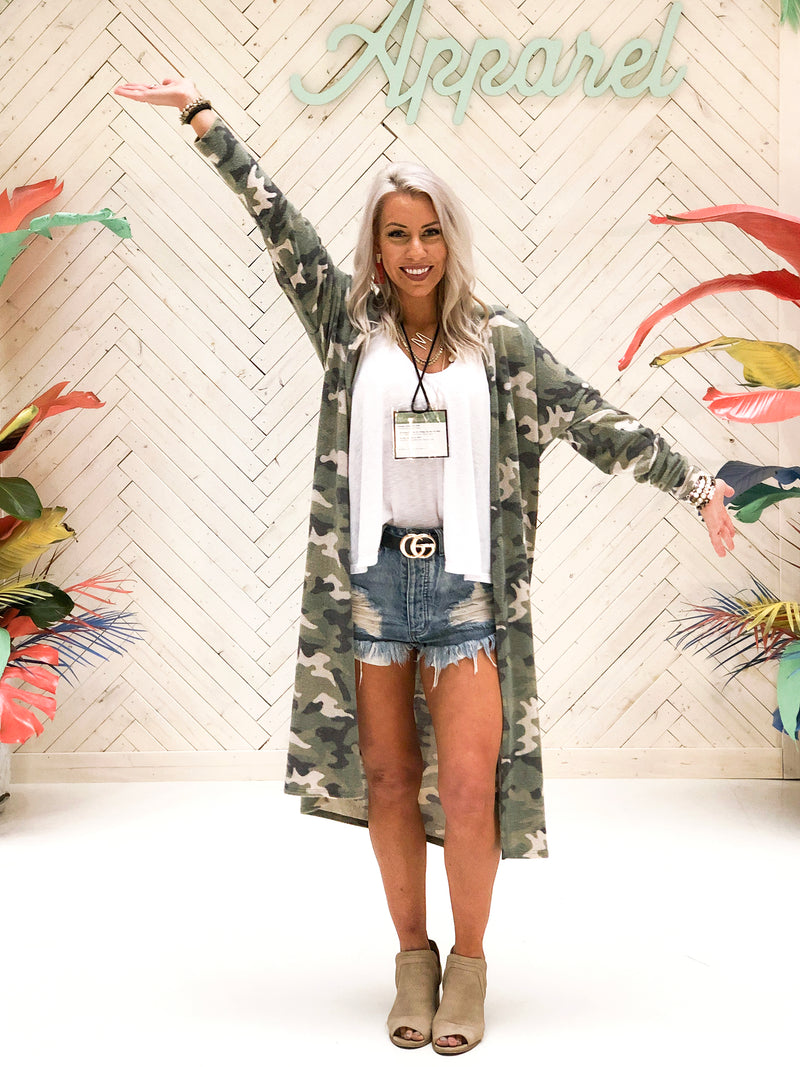 Thin Fleece Camo Cardigan - Kendry Collection Boutique