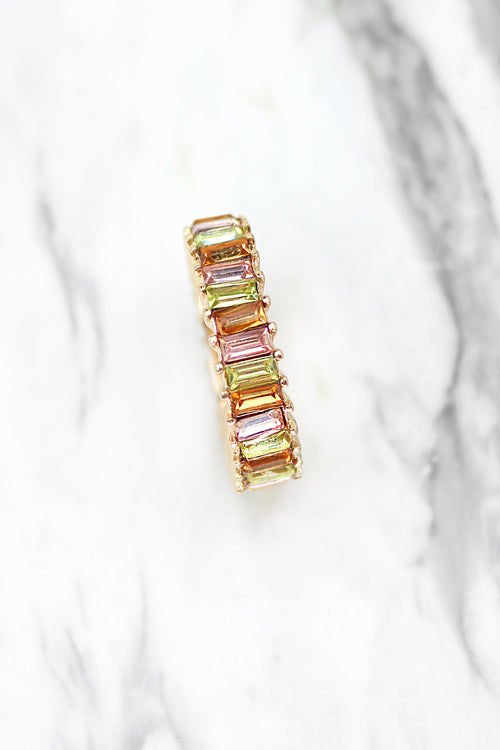 Mini Rainbow Baguette Ring - Orange, Rainbow Ring, Baguette Ring, Multicolor Baguette Ring, Statement Ring, Gold Baguette Ring, Rainbow Baguette Ring, Eternity Baguette Ring - Kendry Collection Boutique