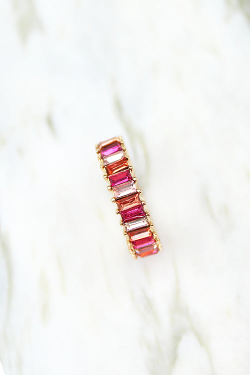 Mini Rainbow Baguette Ring - Pink, Rainbow Ring, Baguette Ring, Multicolor Baguette Ring, Statement Ring, Gold Baguette Ring, Rainbow Baguette Ring, Eternity Baguette Ring - Kendry Collection Boutique