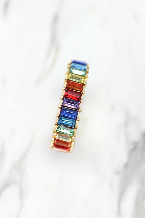 Mini Rainbow Baguette Ring - Gold, Rainbow Ring, Baguette Ring, Multicolor Baguette Ring, Statement Ring, Gold Baguette Ring, Rainbow Baguette Ring, Eternity Baguette Ring - Kendry Collection Boutique