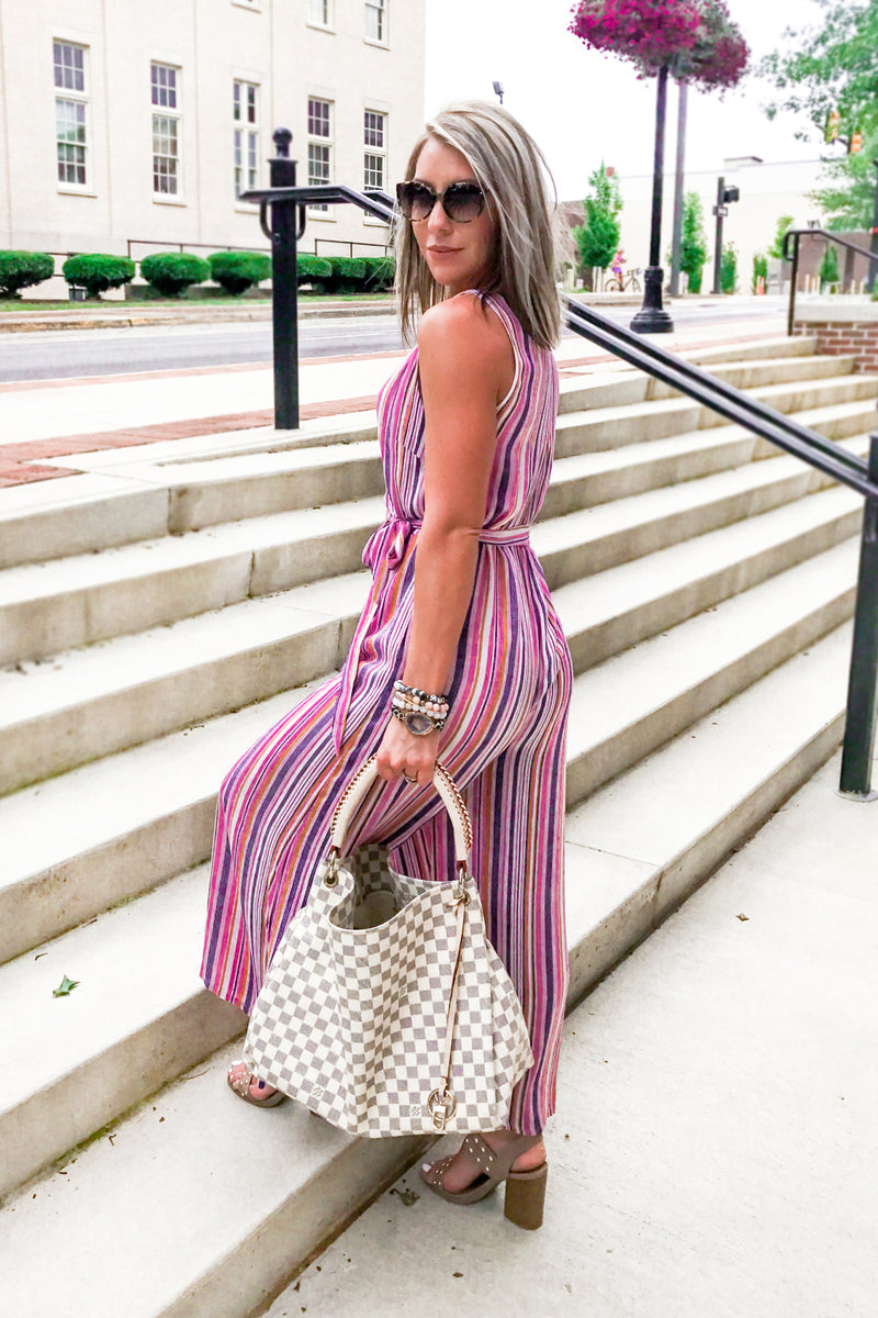 Think Pink Multi Striped Wrap Jumpsuit In Pink, Multi Stripe Jumpsuit, Summer Jumpsuit For Women, Pink Jumper, Wrap Jumpsuit, Pink Wide Leg Jumpsuit, Wrap Jumpsuit | Shop Trendy Jumpsuits And Rompers Online Now At Kendry Collection Online Boutique for Women