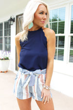 Thinking Out Loud Navy Blue Scalloped Tank Top, High Neck Blue Tank Top, Auburn Game Day Outfit - Kendry Collection Boutique