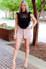 Thrill Of The Lace High Neck Ruffle Crop Top In Black
