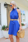 Time And Place Blue Halter Neck Dress