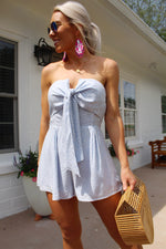 Touch The Sky Light Blue Strapless Romper, Sexy Blue Tie Front Printed Romper, Cute 4th Of July Outfit - Kendry Collection Boutique