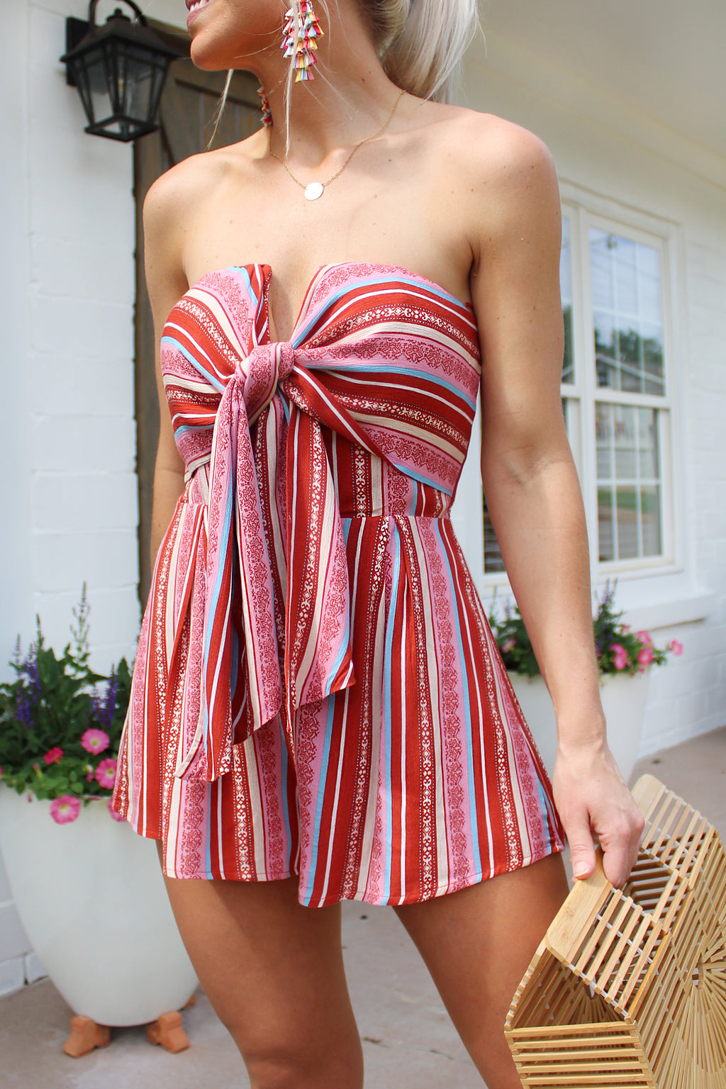Touch The Sky Red Striped Strapless Romper, Cute Red Tie Front Printed Romper, Cute 4th Of July Outfit - Kendry Collection Boutique