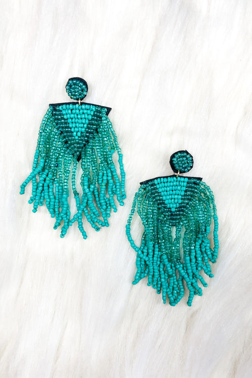 Turquoise Beaded Fringe Earrings - Kendry Collection Boutique