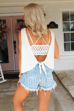 Into The Groove Light Wash Striped Distressed Denim Shorts