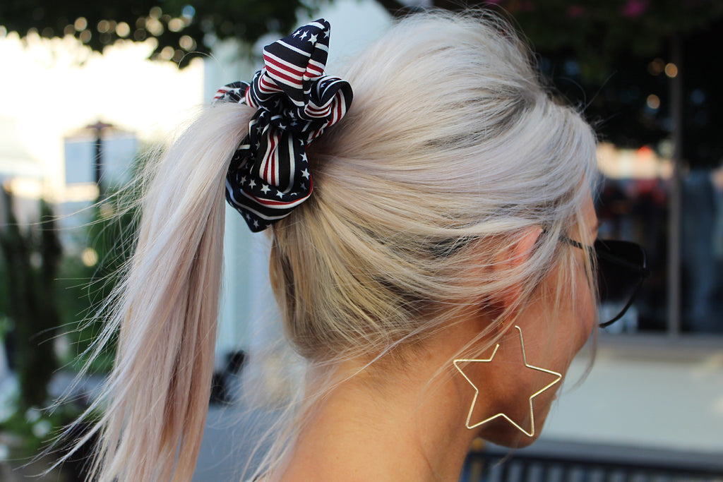 Red, White and Blue American Flag Hair Scrunchie With Bow, 4th Of July Hair Scrunchie - Kendry Collection Boutique