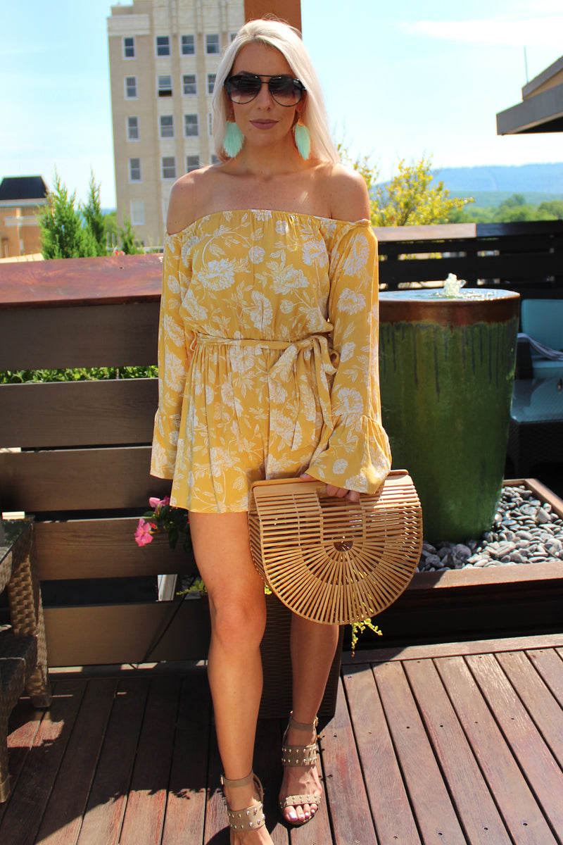 Walking on Sunshine Yellow Floral Print Romper