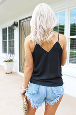 Wanting More Black V-Neck Crochet Lace Tank Top