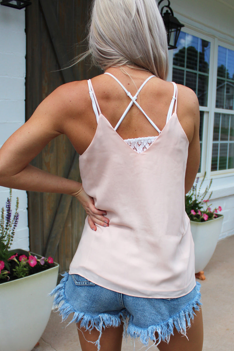 Wanting More Blush V-Neck Crochet Lace Tank Top
