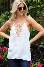 Wanting More White V-Neck Crochet Lace Tank Top