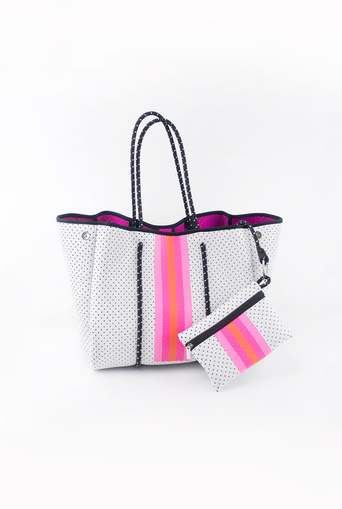 White And Pink Stripe Neoprene Tote Bag - Shop Kendry Collection Boutique