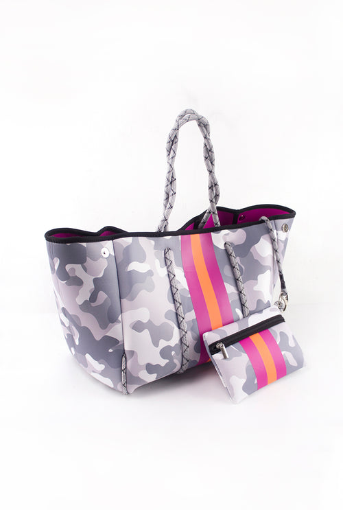 White Camo And Pink Stripe Neoprene Tote Bag
