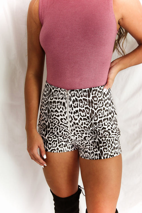 White Leopard Faux Leather Zip Up Shorts - Shop Kendry Collection Boutique