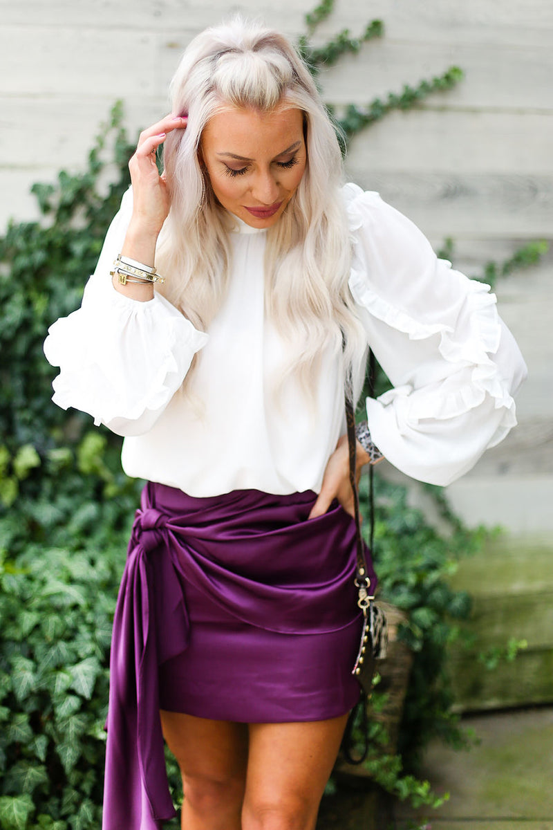 White Long Sleeve Sheer Ruffle Blouse With Button Up Back