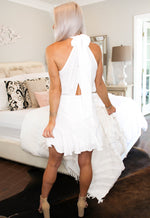 White Mock Neck Open Back Mini Dress - Kendry Collection Boutique