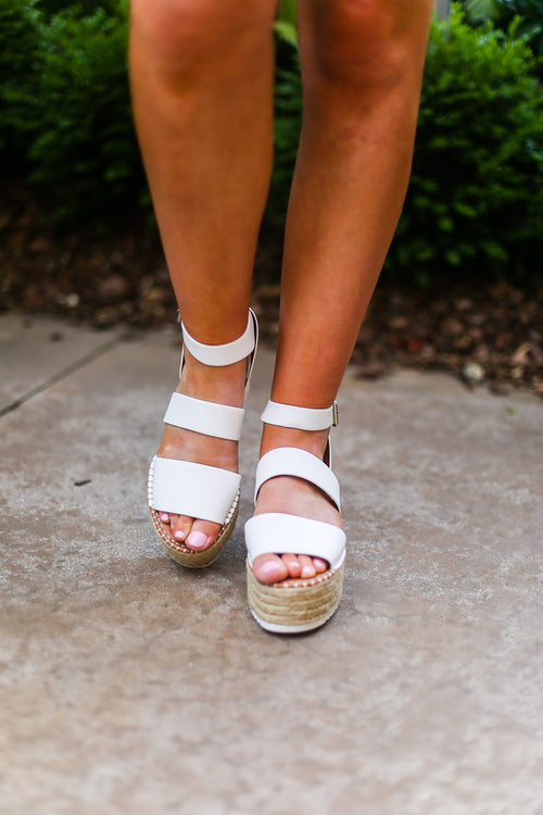 White Platform Espadrille Sandals - Shop Kendry Collection Boutique
