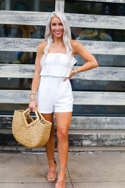 White Ruffle Top Romper - Shop Kendry Collection Boutique Online