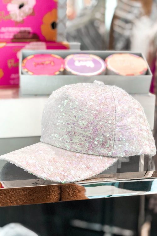 White Sequin Baseball Hat - Kendry Collection Boutique