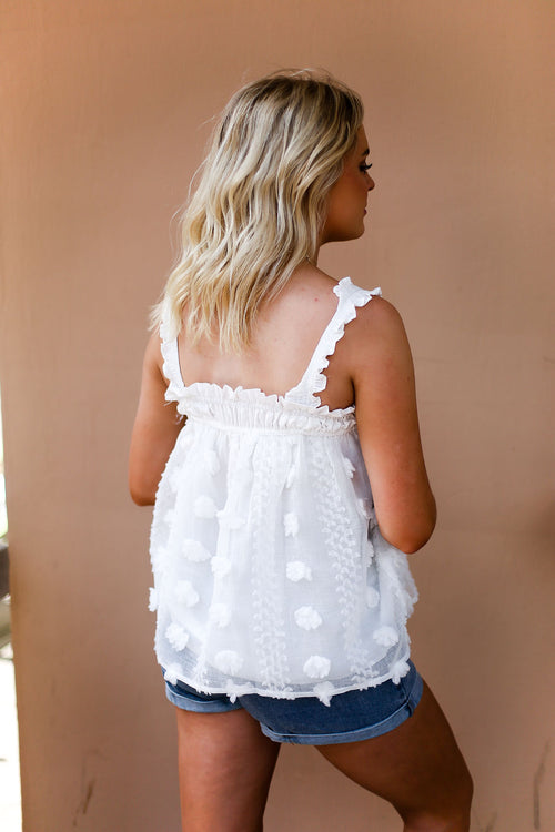 White Textured Babydoll Tank Top - Shop Kendry Collection Boutique