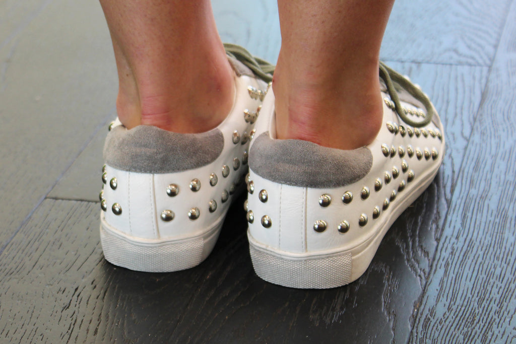 White Studded Sneakers