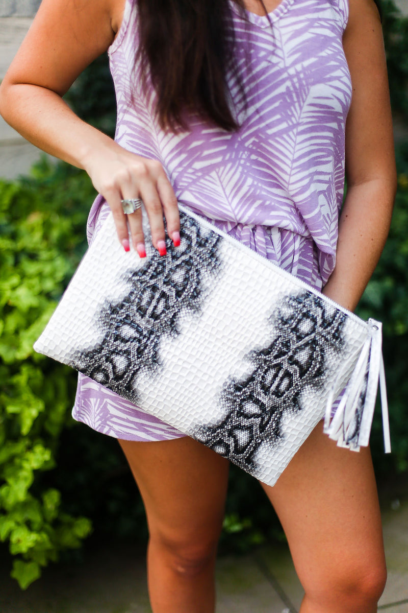 White and Black Snakeskin Clutch - Shop Cute Bags Online At Kendry Collection Boutique