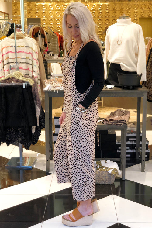 Wide Leg Leopard Print Overall Jumpsuit