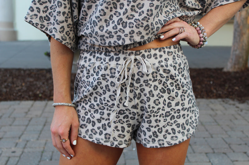Wild Whereabouts Leopard Drawstring Shorts