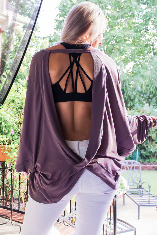 Wildest Dreams Open Back Pullover - Purple - Open Back Top, Casual Top For Women, Purple Cut Out Top, Long Sleeve Top, Purple Athletic Blouse, White Denim Pants, White Jeans, Cute Sports Bra, Trendy Casual Outfit For Fall 2018, Fall 2018 Outfit, Cute Blonde - Shop Kendry Collection Online Boutique For The Latest Trends In Women's Fashion, Find Cute Tops, Trendy Dresses, Chic Jumpsuits And More