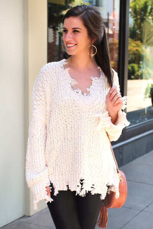 Wonderland Distressed Popcorn Sweater - Cream - Kendry Collection Boutique