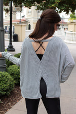 Black & White Striped Top - Casual Open Back Top - Kendry Collection Boutique