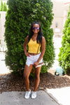 Yellow Acid Wash Ribbed Cropped Tank - Shop Kendry Collection Boutique Online