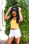 Yellow Acid Wash Ribbed Cropped Tank - Shop Kendry Collection Boutique