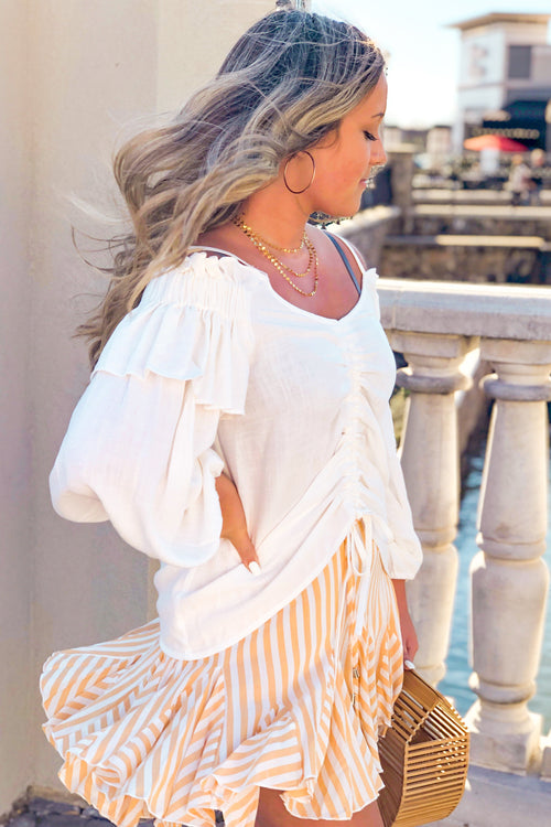 Ruched White Cold Shoulder Top - Kendry Collection Boutique
