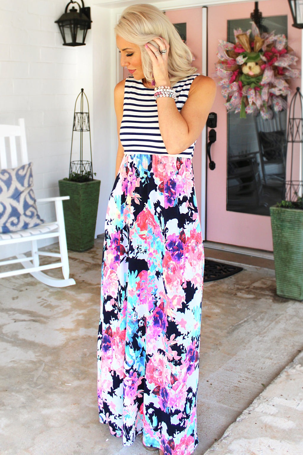 In Full Bloom Sleeveless Floral Maxi Dress
