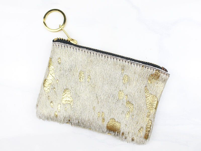 Metallic Cowhide Coin Purse - Gold - Kendry Collection Boutique
