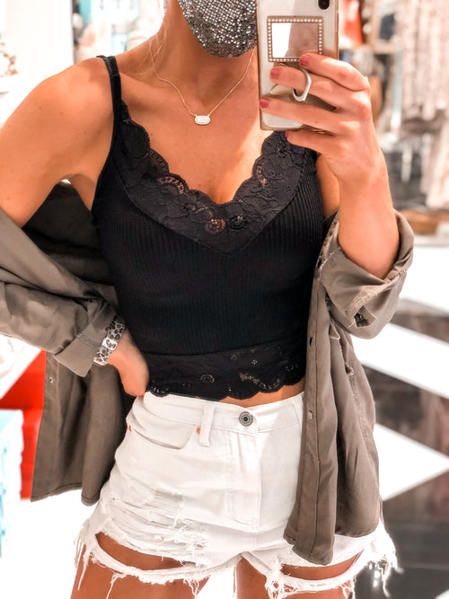 Ribbed Lace Cropped Tank Top