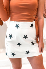 Faux Leather White And Black Star Mini Skirt