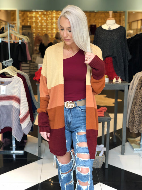 PSL Lover Color Block Cardigan