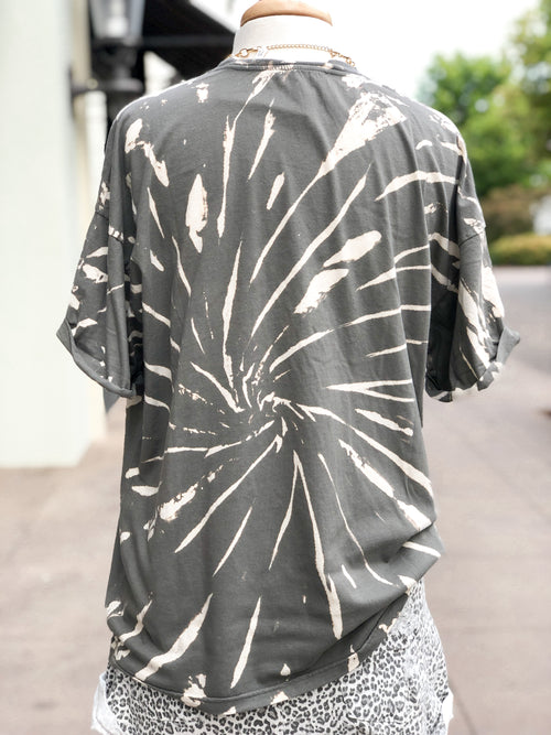 Grey Tie Dye Wild And Free Graphic Tee