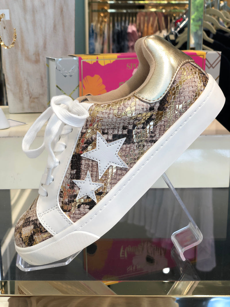 Metallic Snakeskin Star Sneakers