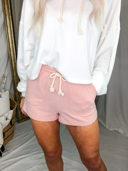 Solid Color Brushed Cashmere Lounge Shorts - Pink - Shop Kendry Collection Boutique