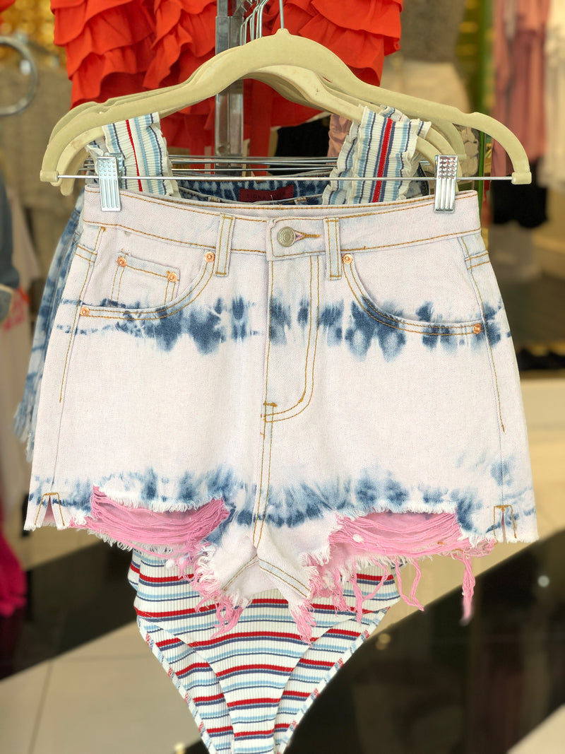 Pink Distressed High Rise Denim Shorts