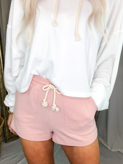 Solid Color Brushed Cashmere Lounge Shorts - Pink